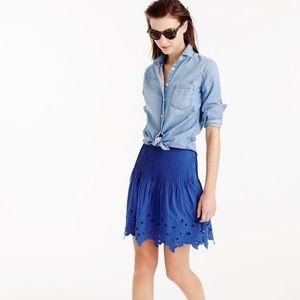 J Crew Eyelet Floral mini skirt